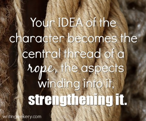 Your IDEA of the character becomes the central thread of a rope, the aspects winding into it, strengthening it.